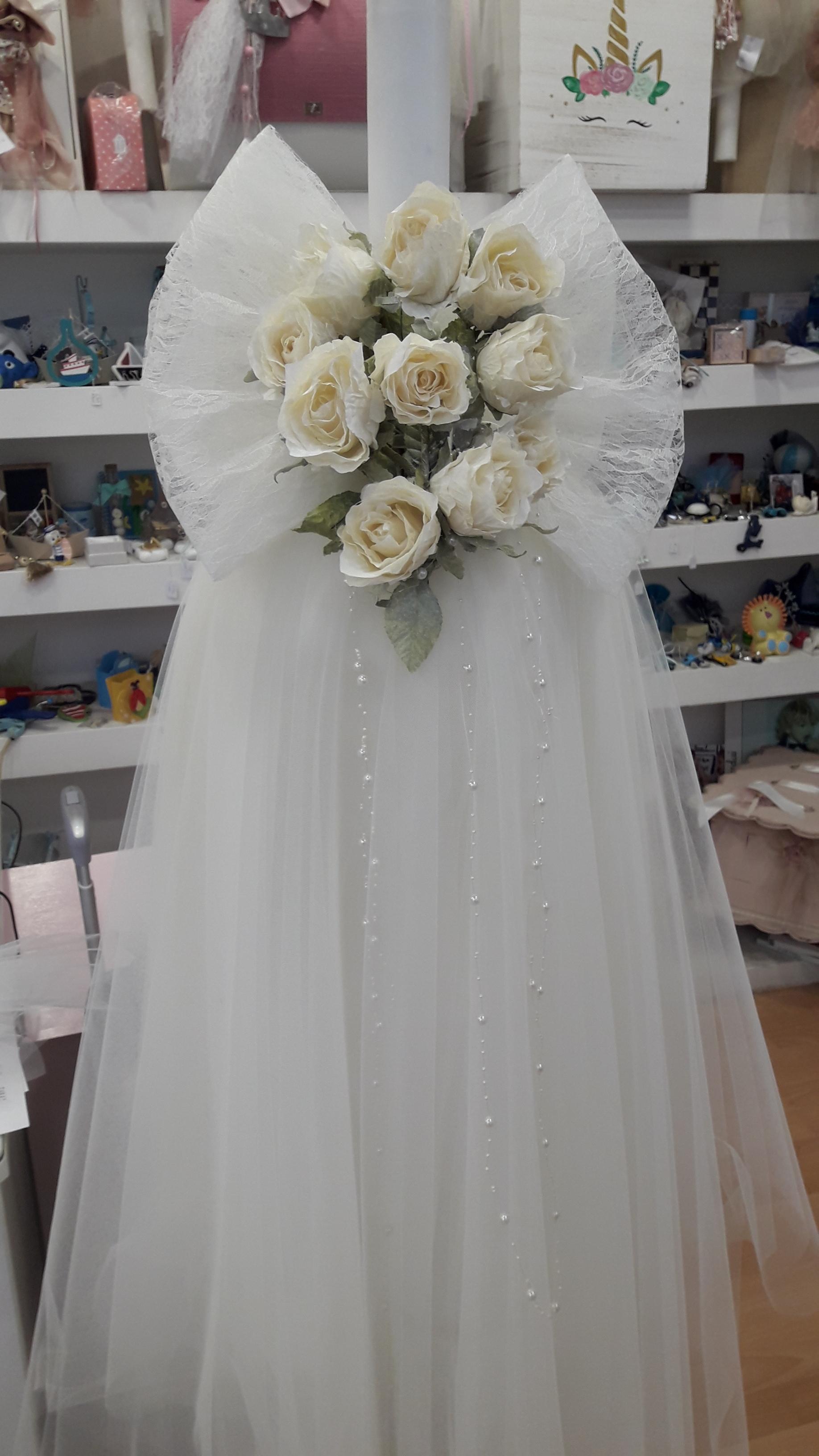 51ac9ae00123 λαμπαδες γαμου κλασσικες ρομαντικες τουλινες λουλουδια μεραξωτα