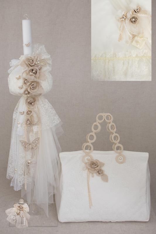 de0bce3956 σετ βαπτισης πακετο για κοριτσι με τσαντα λευκη μπεζ λουλουδια θεμα  πεταλουδα